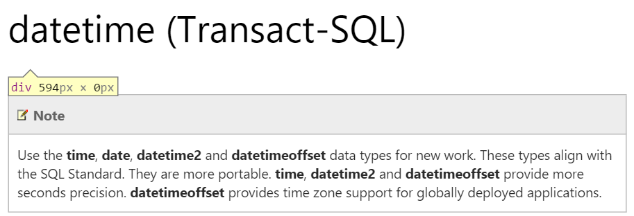 No, seriously, don't use DATETIME.